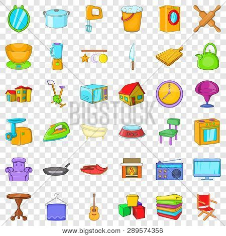 Good House Icons Set. Cartoon Style Of 36 Good House Vector Icons For Web For Any Design