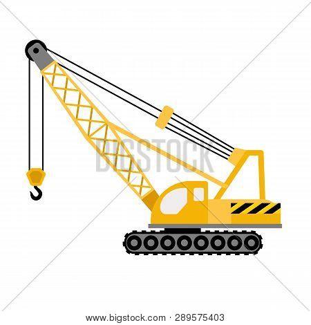 Construction Excavator Crane Icon. Flat Illustration Of Construction Excavator Crane Vector Icon For