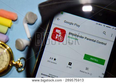 Bekasi, West Java, Indonesia. March 15, 2019 : Bitdefender Parental Control Dev App With Magnifying