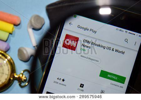 Bekasi, West Java, Indonesia. March 15, 2019 : Cnn Breaking Us & World News Dev App With Magnifying