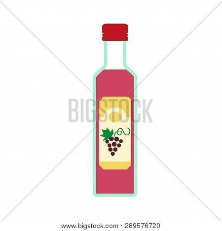 Grapes Vinegar Icon. Flat Illustration Of Grapes Vinegar Vector Icon For Web Design