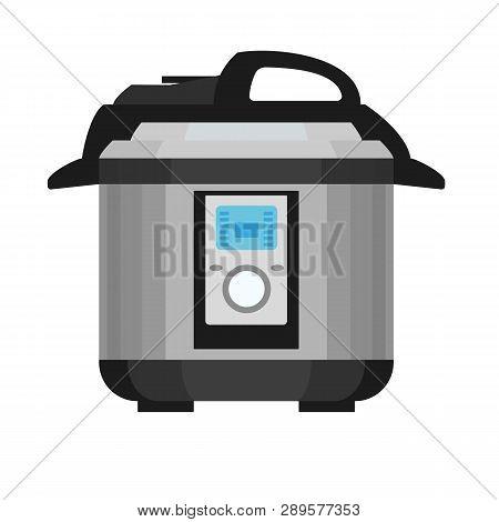 Pressure Cooker Icon. Flat Illustration Of Pressure Cooker Vector Icon For Web Design
