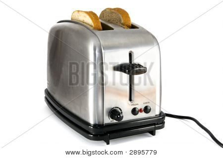 Shiny Chrome Toaster With Two Slices Of Bread