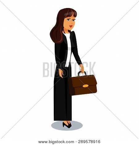 Young Businesswoman Cartoon Character Clipart. Confident, Wealthy, Elegant Lady Vector Illustration. Successful Female Office Worker in Suit with Briefcase. Busy Employee, Employer Flat Drawing poster