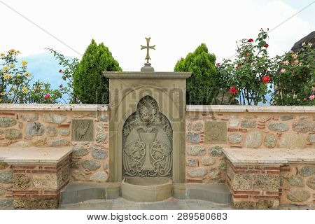Place To Drink Water On The Territory Of The Monastery Of Varlaam From Meteora Eastern Orthodox Mona