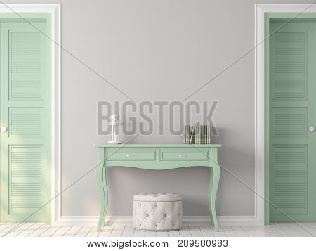 Vintage Room With Pastel Color 3d Render,there Are White Wood Floor,gray Paint Wall,decorate With Li