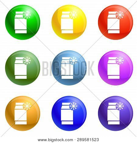 Low Density Polyethylene Icons Vector 9 Color Set Isolated On White Background For Any Web Design