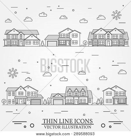 Neighborhood With Homes Illustrated On White. Vector Thin Line Icon Suburban American Houses. For We