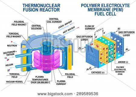 Fuel Cell And Thermonuclear Fusion Reactor Diagram. Vector. Devices That Receives Energy From Thermo