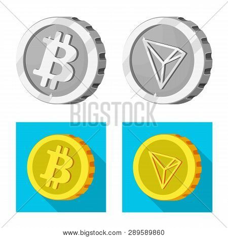 Vector Illustration Of Cryptocurrency And Coin Icon. Collection Of Cryptocurrency And Crypto Stock V