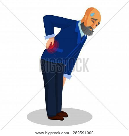 Old Man Suffering from Back Pain Flat Illustration. Grandfather Bending Over, Holding His Back Isolated Clipart. Cartoon Character with Grey Beard. Discomfort, Rheumatism. Injured OAP Vector Drawing poster