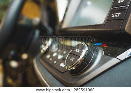 Part Of Media Control Selector Of Car Interior