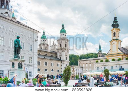 SALZBURG, AUSTRIA - June 16, 2018: Salzburg Cathedral is the seventeenth-century Baroque cathedral of the Roman Catholic Archdiocese