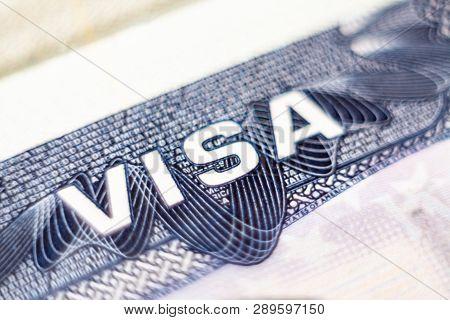 Kyiv, Ukraine - February 2019: Close Up Macro Of The United States Of America Visa Header In Passpor
