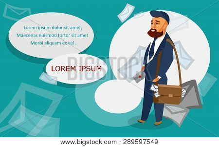 Postman Vector Banner Template With Text Space. Mailman Bringing Letters Flat Illustration. Cartoon