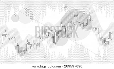 Grey Color Trade Chart In Financial Market Vector Illustration On White Background. Forex Trading Gr