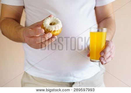 Fattening Food, High-calorie Snack. Weight Loss, Dietary, Balanced Nutrition. Overweight Man With Un
