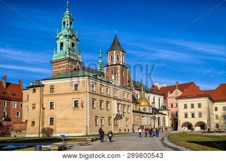 Krakow, Poland - February 19: Wawel Royal Castle And Cathedral On February 19, 2018 In Krakow