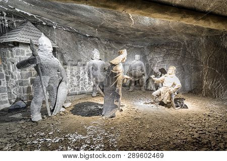 Wieliczka, Poland - February 20: Sculptures At Chamber With Nicolaus Copernicus In Wieliczka Salt Mi