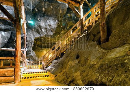 Wieliczka, Poland - February 20: Wooden Upstairs At Chamber With In Wieliczka Salt Mine On February