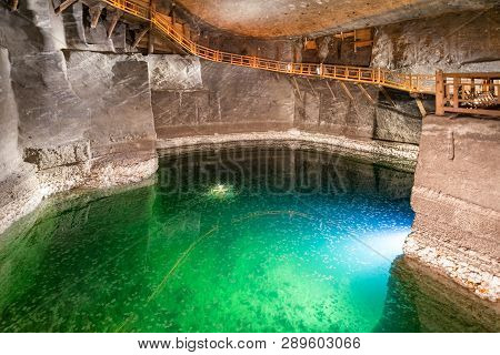 Wieliczka, Poland - February 20: Reflection At Lake In Wieliczka Salt Mine On February 20, 2018, Wie