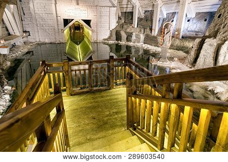 Wieliczka, Poland - February 20: Reflection On Lake In Wieliczka Salt Mine On February 20, 2018, Wie