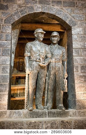 Wieliczka, Poland - February 20: Sculptures Of Miners In Wieliczka Salt Mine On February 20, 2018, W