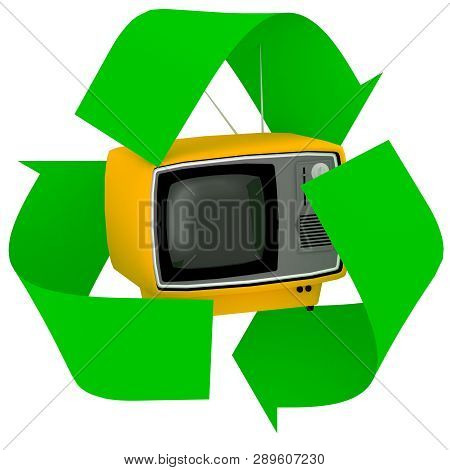 Vintage Television Inside Symbol Recycle Isolated On White Background, 3d Illustration