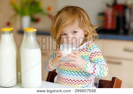 Adorable Toddler Girl Drinking Cow Milk For Breakfast. Cute Baby Daughter With Lots Of Bottles. Heal