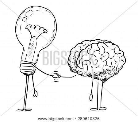 Cartoon Stick Figure Drawing Conceptual Illustration Of Brain And Lightbulb Or Light Bulb Characters