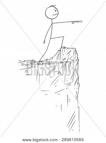 Cartoon Stick Figure Drawing Conceptual Illustration Of Man Or Businessman In Heroic Pose Standing O