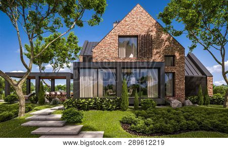 3D Rendering Of Modern Clinker House On The Ponds With Pool