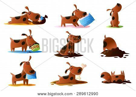 Brown Cartoon Dog Set Of Normal Everyday Activities Isolated On White Background