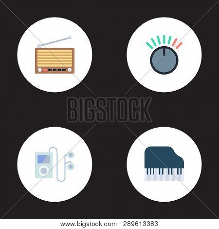 Set Of Audio Icons Flat Style Symbols With Audio Device, Volume Control, Retro Tuner And Other Icons