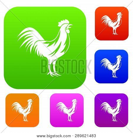 Gallic Rooster Set Icon In Different Colors Isolated Illustration. Premium Collection