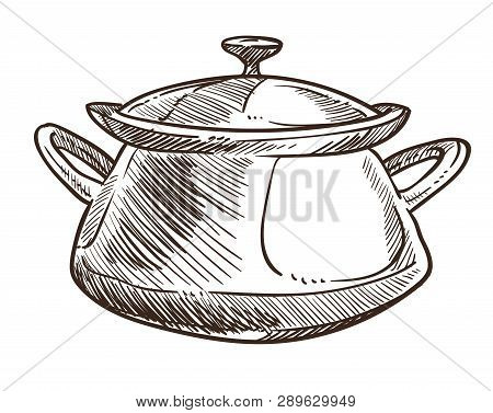 Cooking Pan With Handles And Cap Monochrome Sketch Outline