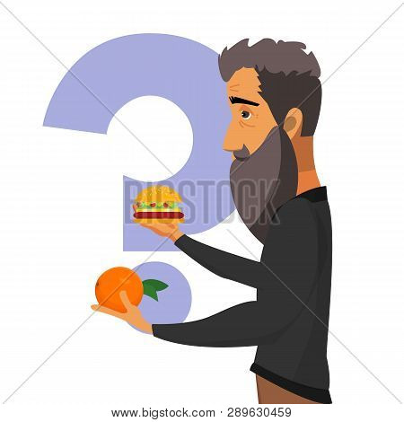 Healthy Eating, Lifestyle Vector Poster Concept. Old Man Choosing Between Fruit And Fast-food Flat I