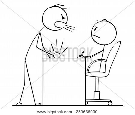 Cartoon Stick Figure Drawing Conceptual Illustration Of Man Or Businessman Yelling Or Screaming At B