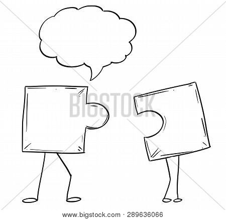 Cartoon Illustration Of Two Jigsaw Puzzle Piece Male And Female Characters Matching Together. There