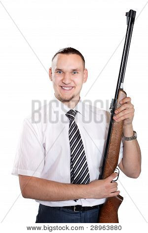 Happy Businessman With Gun