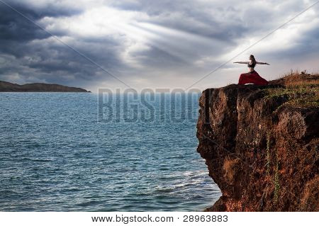 Woman Doing Virabhadrasana Warrior Yoga Pose