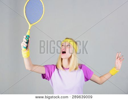 Active lifestyle. Woman hold tennis racket in hand. Tennis club concept. Sport for maintaining health. Tennis sport and entertainment. Active leisure and hobby. Girl fit slim blonde play tennis poster