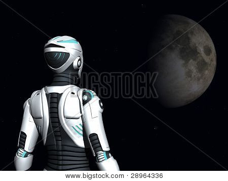 Android Woman Gazing Into Space.