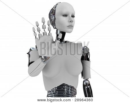 A robot woman holding her hand up like she is stopping someone. The hand is in focus and the body is out of focus. White background. poster