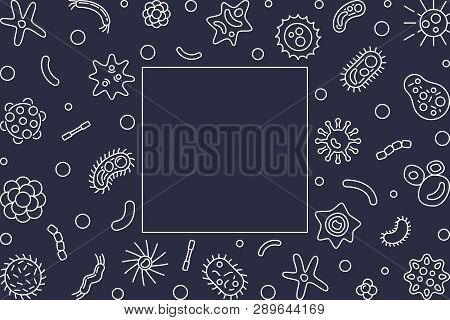 Human Microbiota Horizontal Frame With Empty Space For Text. Vector Concept Illustration In Thin Lin