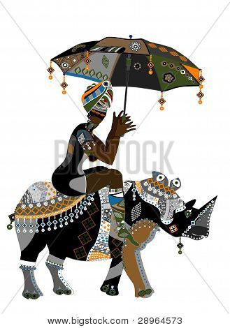 poster of Woman in ethnic style with an umbrella in his hand on his back rhino