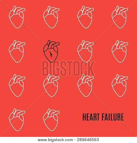 Heart Failure Icon Patterned Poster On Red