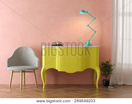Interior of modern living room with table 3 D rendering