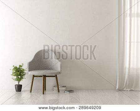 Interior of modern living room with chair 3 D rendering