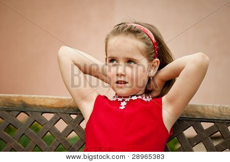 Child Portrait - Small Girl In Red